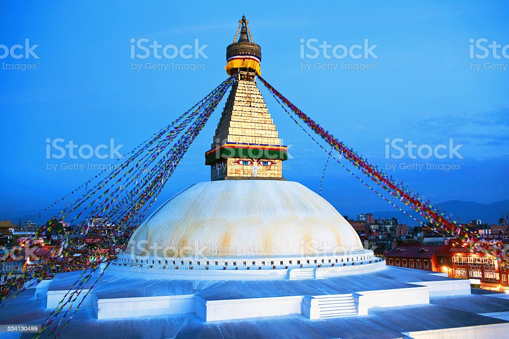 Boudhanath Stupa in the Kathmandu, Nepal stock photo