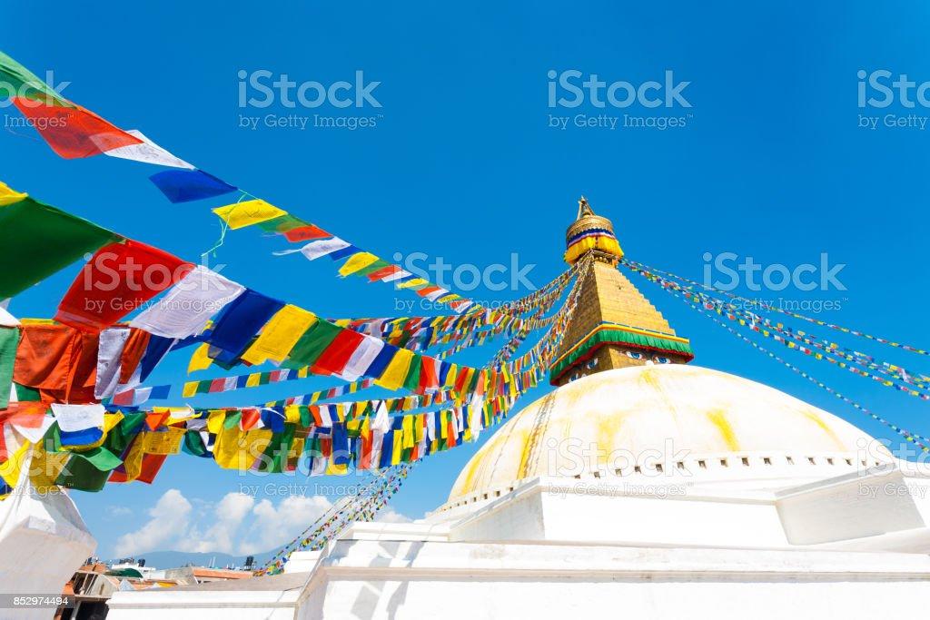 Boudhanath Stupa Second Level Prayer Flags H stock photo