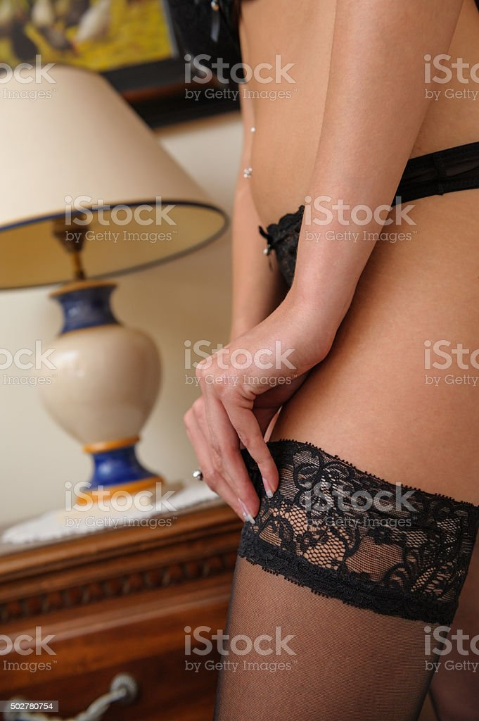 Boudoir stockings stock photo