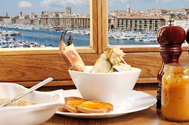 Bouillabaisse with view of Marseille stock photo