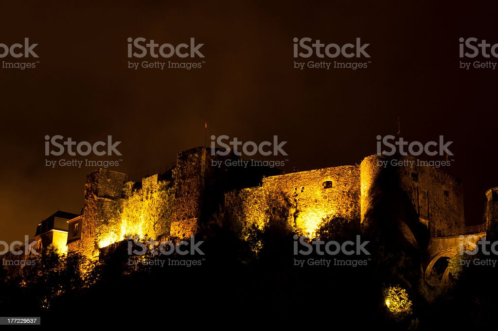 Bouillon castle at night royalty-free stock photo