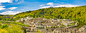 Panorama of Bouillon (Bouyon) village and medieval castle in Belgium, province Luxembourg and river Semois
