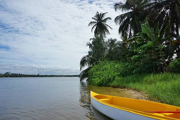 Ile Boulay Abidjan Ivory Coast Island of Boulay  lies in the lagoon of Abidjan, Ivory Coast.  The unspoilt nature and serene  isolation will soon be changed with the planned expansion of the Port of Abidjan. côte d'ivoire stock pictures, royalty-free photos & images