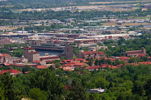 Boulder and the Universtiy of Colorado stock photo
