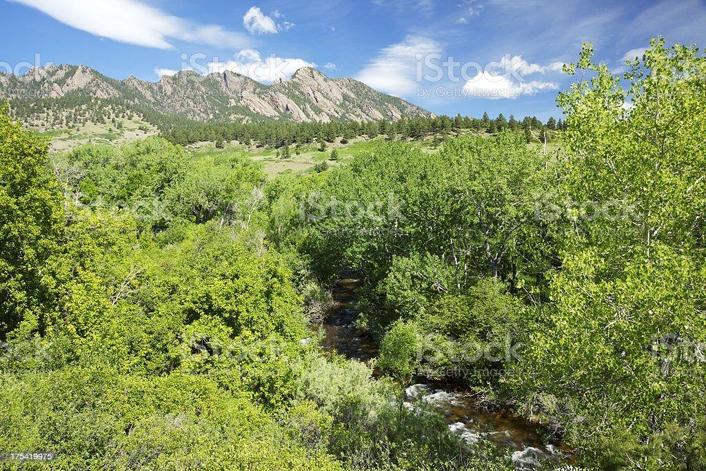 Boulder Colorado Flatirons and River royalty-free stock photo
