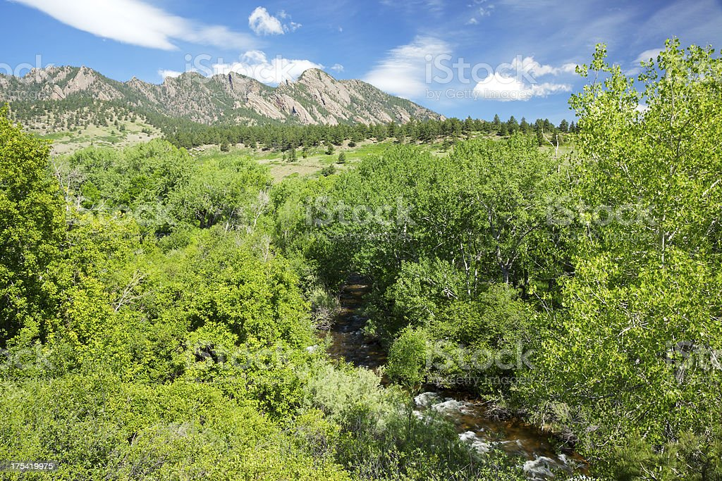 Boulder Colorado Flatirons and River stock photo