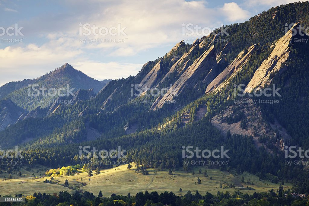 Boulder Colorado Flatirons in Fall stock photo