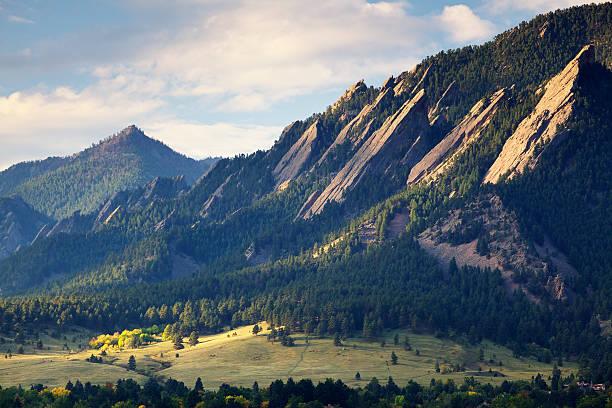 Boulder Colorado Flatirons in Fall stock photo