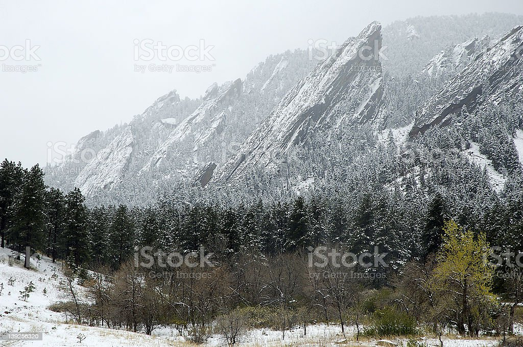 Boulder Colorado Flatirons royalty-free stock photo