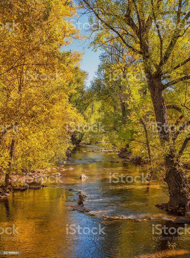 Boulder Creek in Autumn stock photo