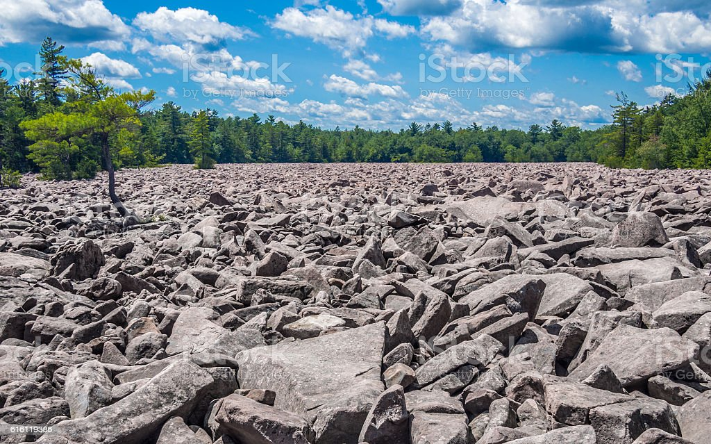 Boulder field in Hickory Run State Park stock photo