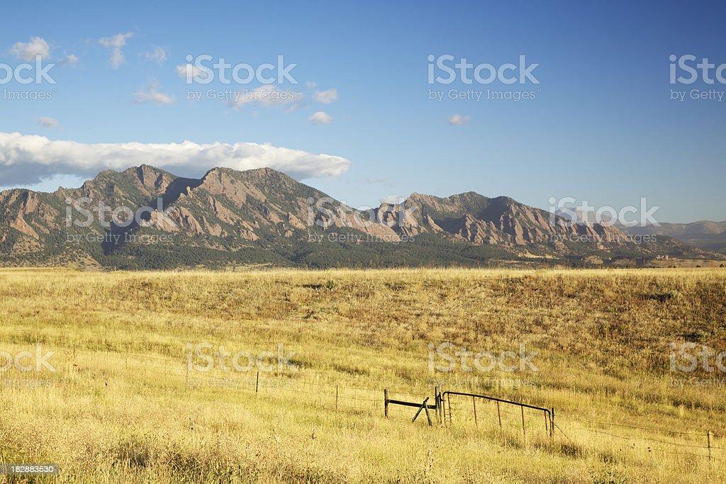 Boulder Flatirons and Prairie Grass stock photo