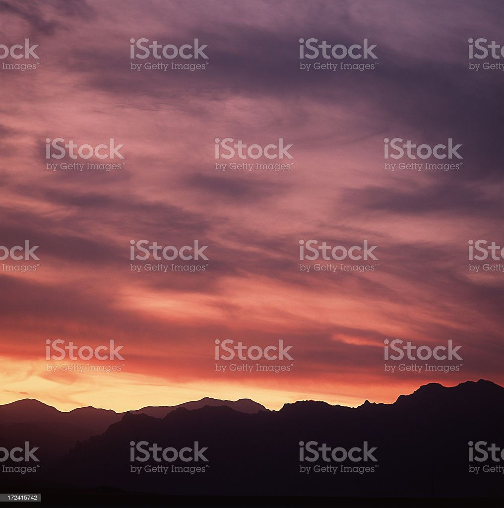 Boulder Flatirons at Sunset royalty-free stock photo
