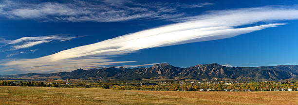 Boulder Flatirons in the Fall stock photo