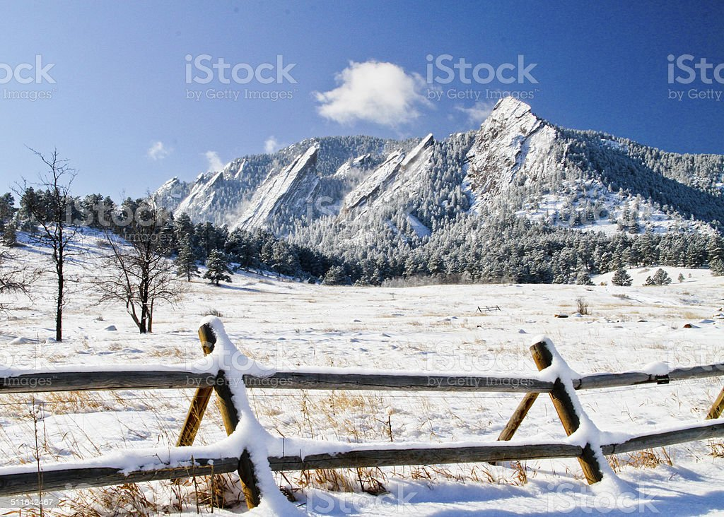 Boulder Flatirons in Winter stock photo
