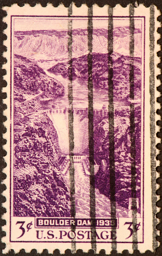 1935  stamp honoring Boulder Dam on the Colorado River, later renamed Hoover Dam.