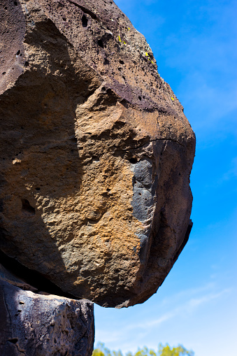 Boulder Teetering on Cliff, Close-Up