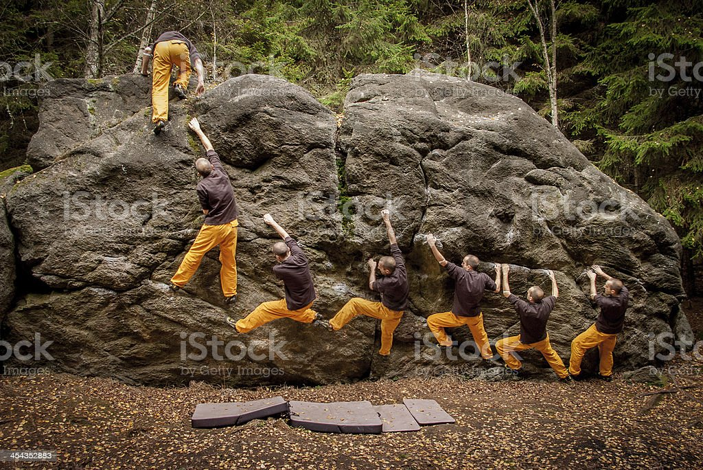 Bouldering -7 steps to the top stock photo