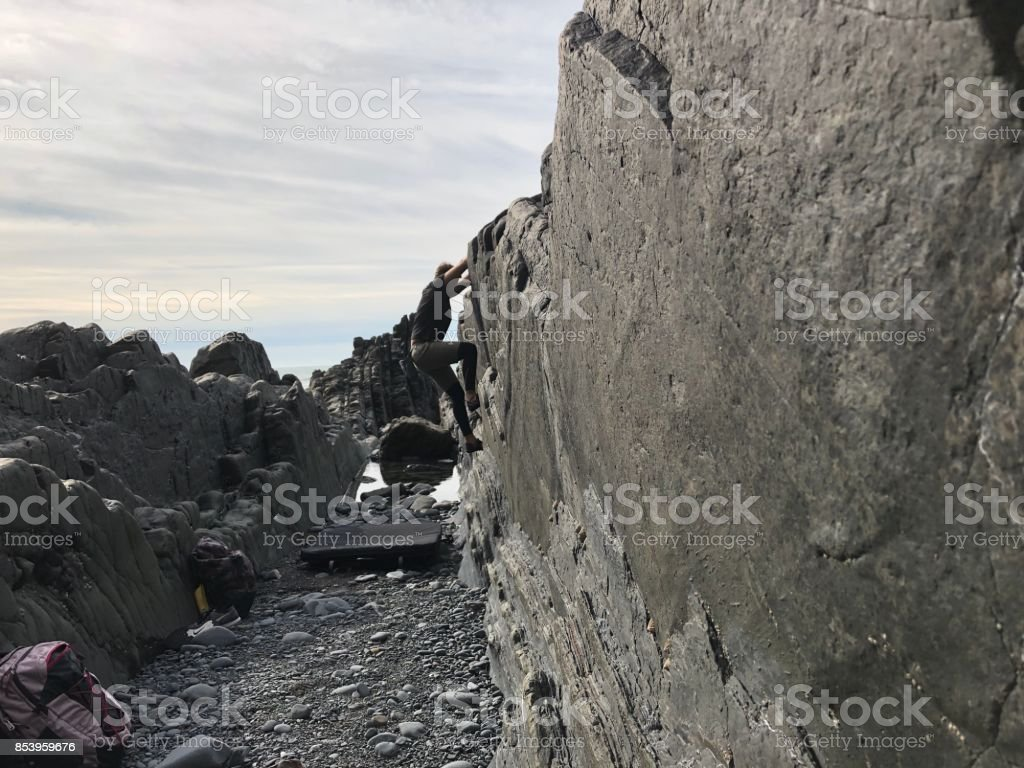 Bouldering in the Trenches 2 stock photo