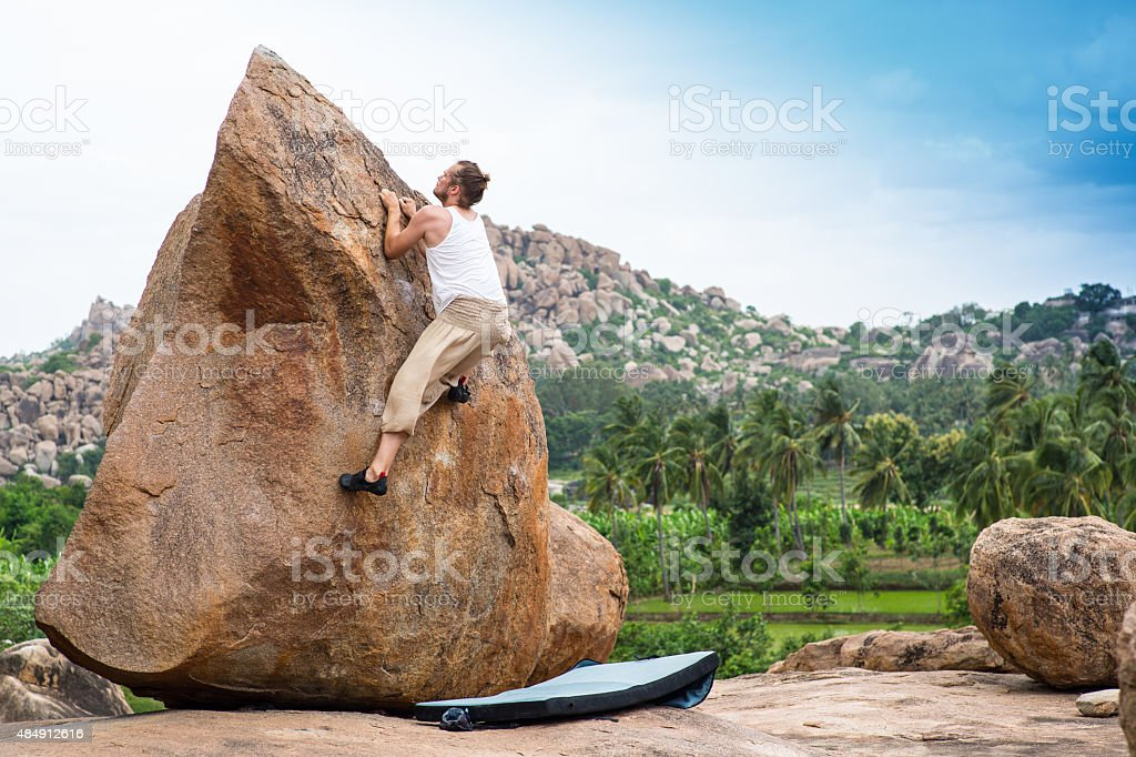 Bouldering_India_selfie stock photo