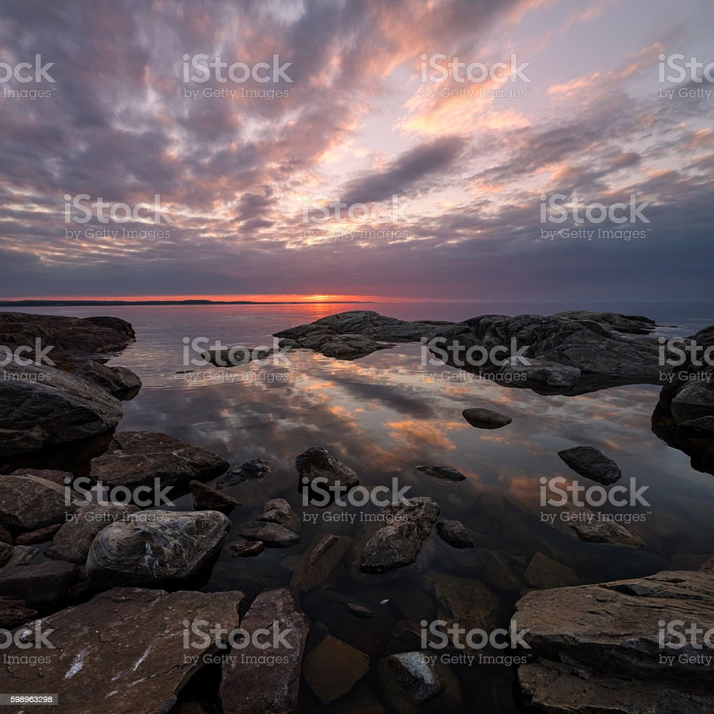 Boulders and sunset stock photo