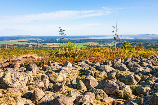 Boulders from an old hillfort and a beautiful landscape view
