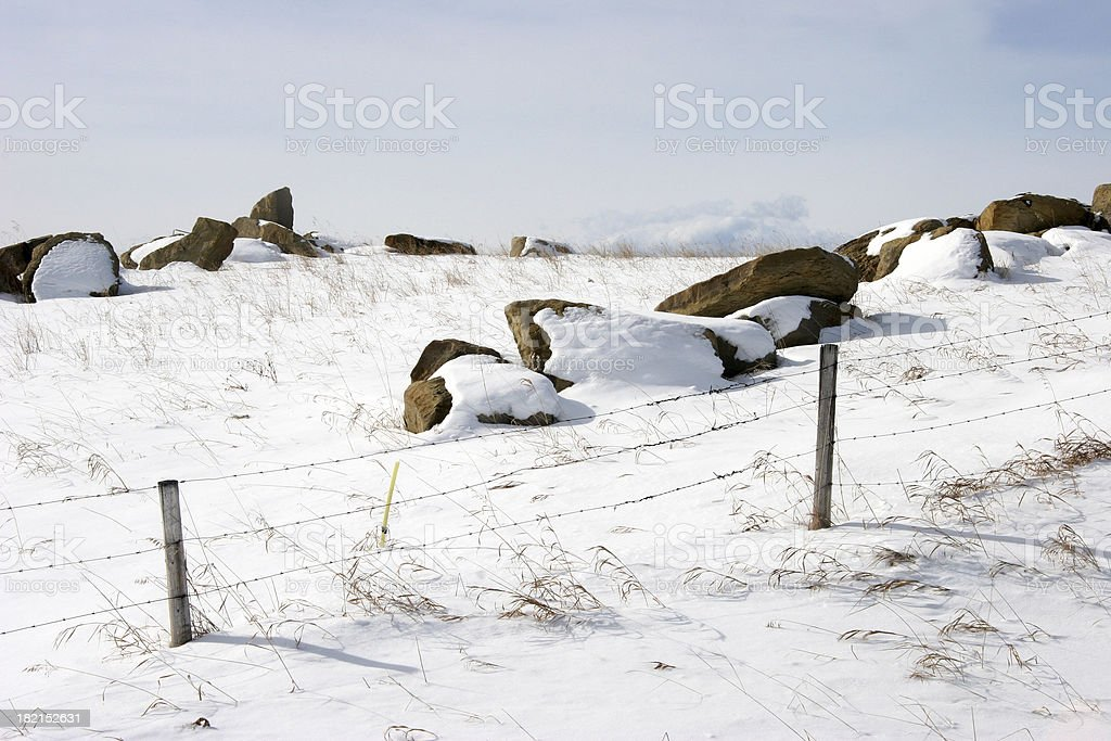 Boulders in A Winter Prairie Landscape royalty-free stock photo
