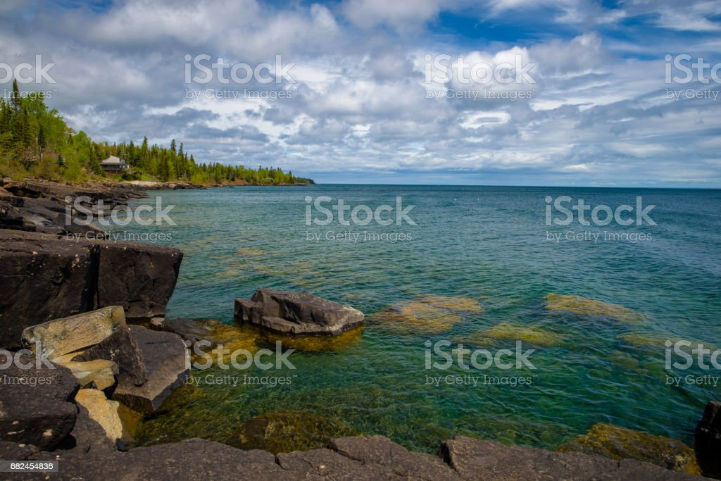 boulders, lake superior, spring royalty-free stock photo