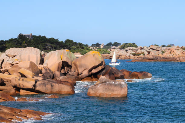 Boulders on the Pink Granite Coast in Brittany stock photo