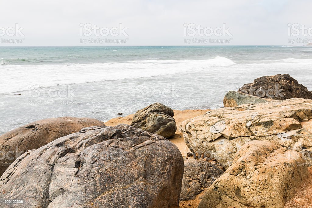 Boulders With An Ocean Background At Point Loma Tide Pools Stock