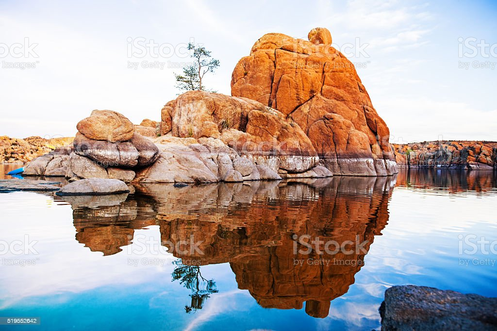 Boulders With Tree in Watson Lake - Arizona stock photo