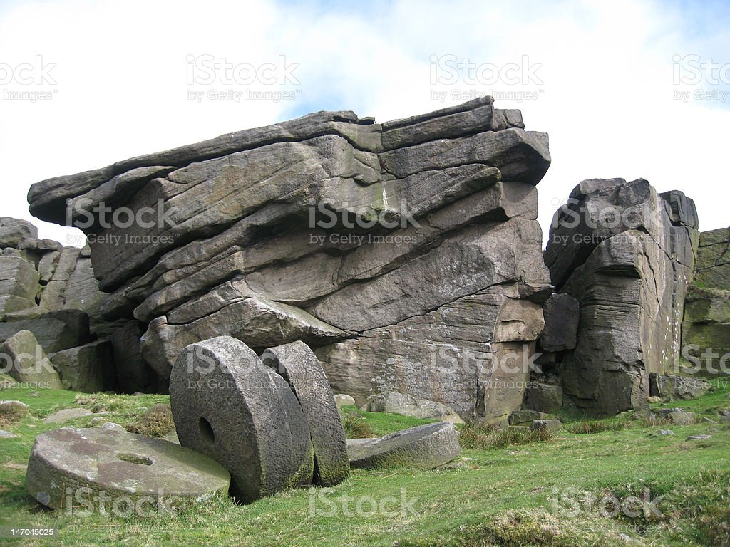 boulders,rocks,moors and old millstones of Derbyshire stock photo