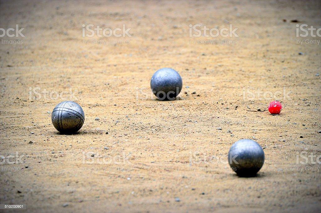 Boules Petanque balls stock photo