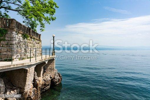 Lungomare, Hiking path along Adriatic Sea. Opatija, Istria, Croatia