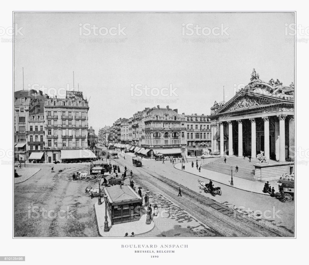 Boulevard Anspach, Brussels, Belgium, Holland, Antique Belgium Photograph, 1893 stock photo