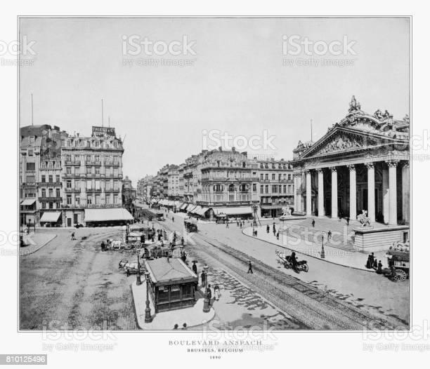 Boulevard Anspach, Brussels, Belgium, Holland, Antique Belgium Photograph, 1893