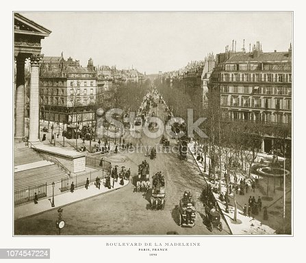 Antique Paris Photograph: Boulevard De La Madeleine, 1893. Source: Original edition from my own archives. Copyright has expired on this artwork. Digitally restored.