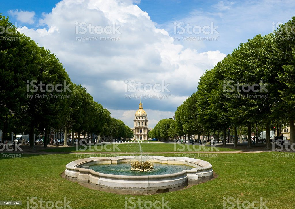 Boulevards and fountain, Paris royalty-free stock photo