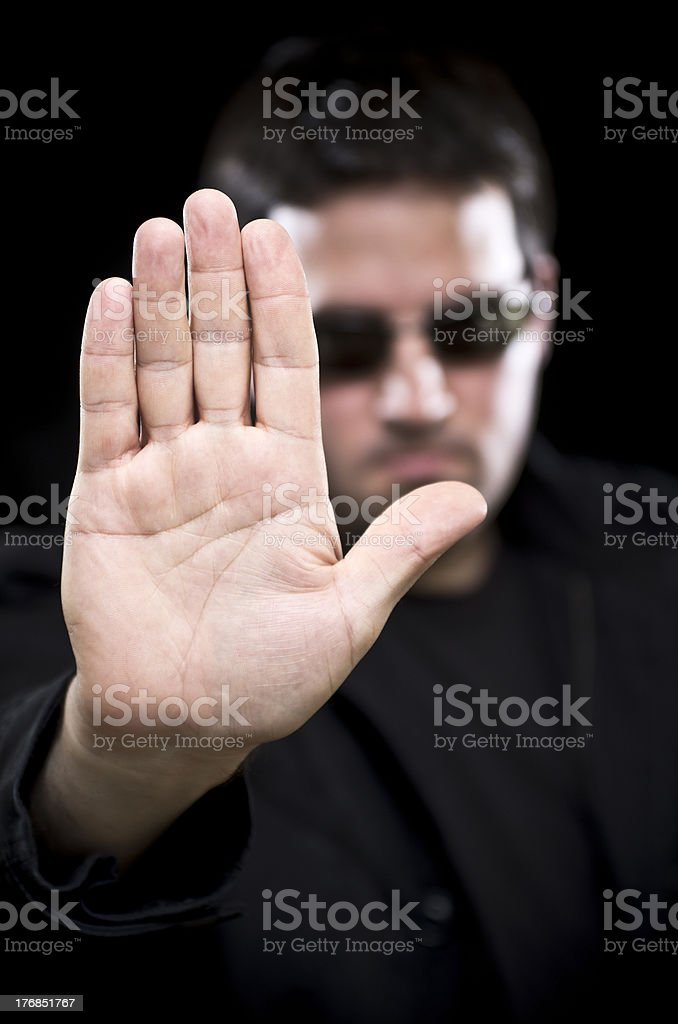 Bouncer says Stop stock photo