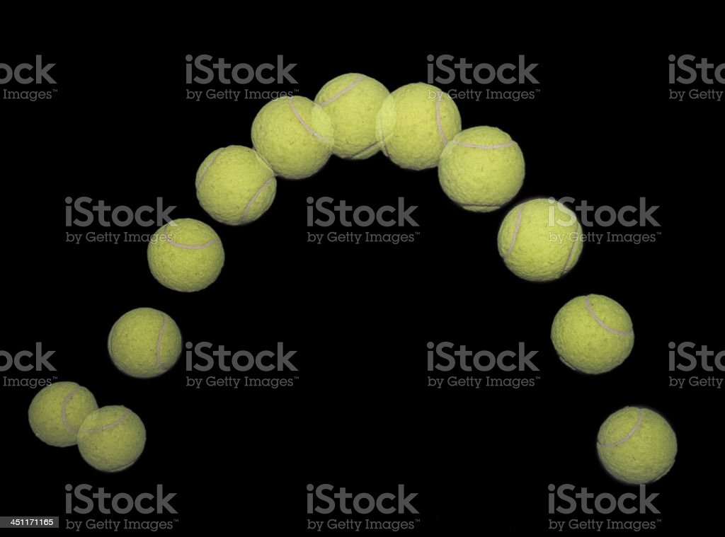 Bouncing tennis ball. stock photo