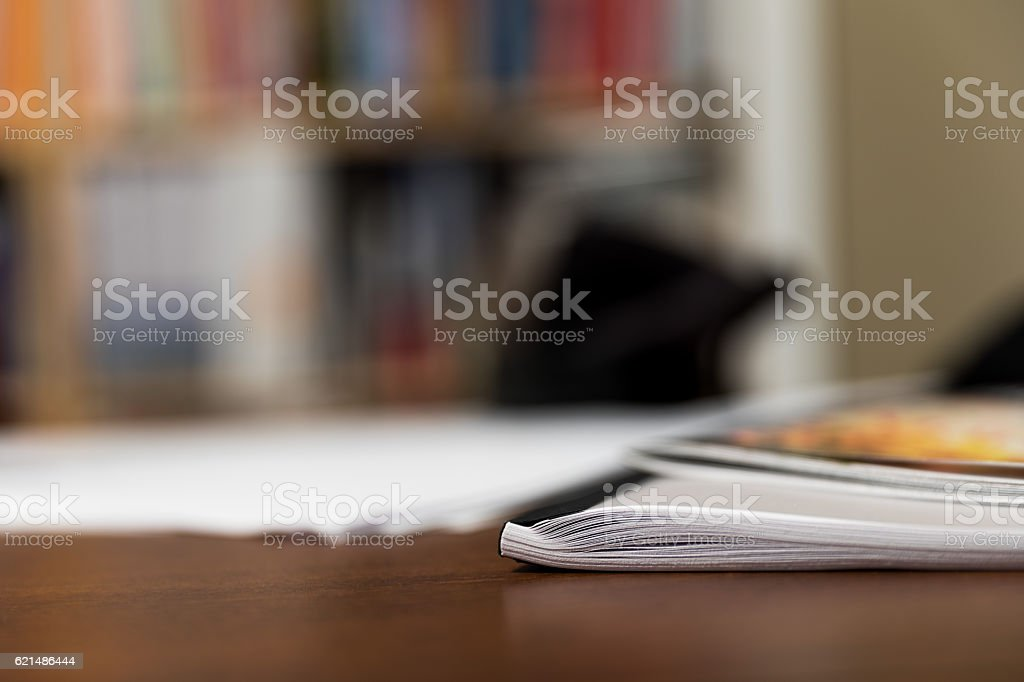 Bound Book Laying on Desk photo libre de droits