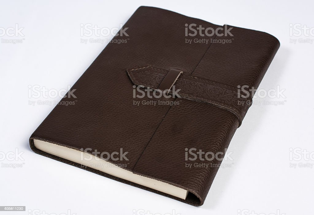 Bound Leather Journal Book Closed Isolated on White Perspective stock photo