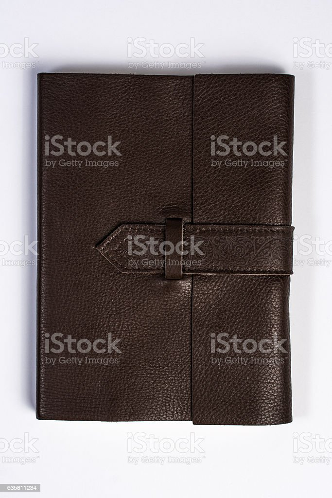 Bound Leather Journal Book Closed Isolated on White Top View stock photo
