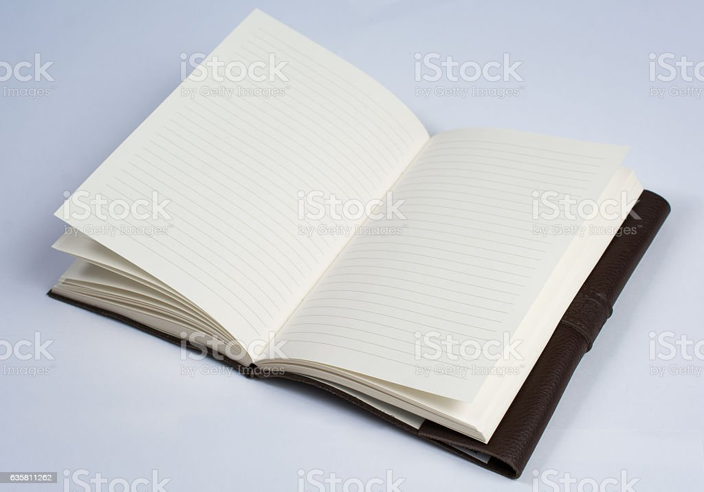 Bound Leather Journal Book Open Isolated on White Perspective Vi stock photo
