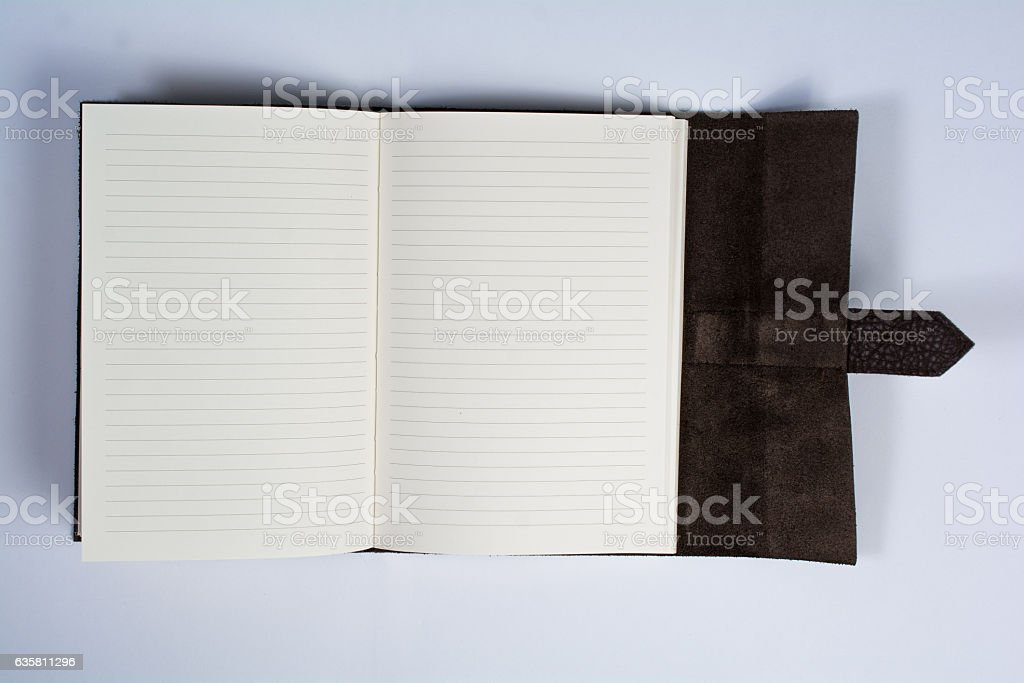 Bound Leather Journal Book Opened Isolated on White Top View stock photo