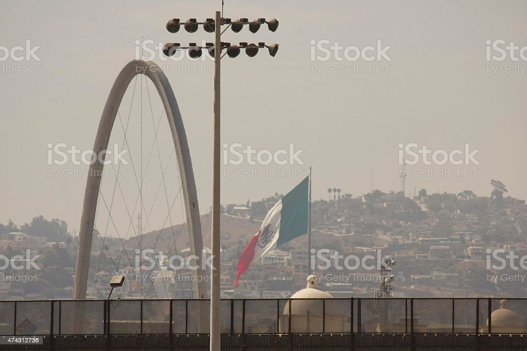 Boundary line between United States and Mexico stock photo