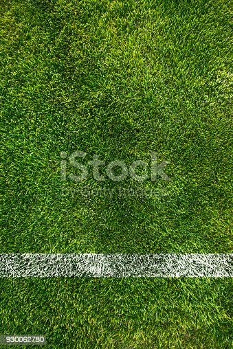 A boundary line on a soccer field