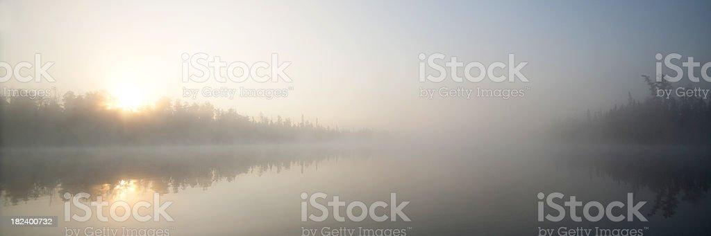Boundary Waters sunrise panorama stock photo