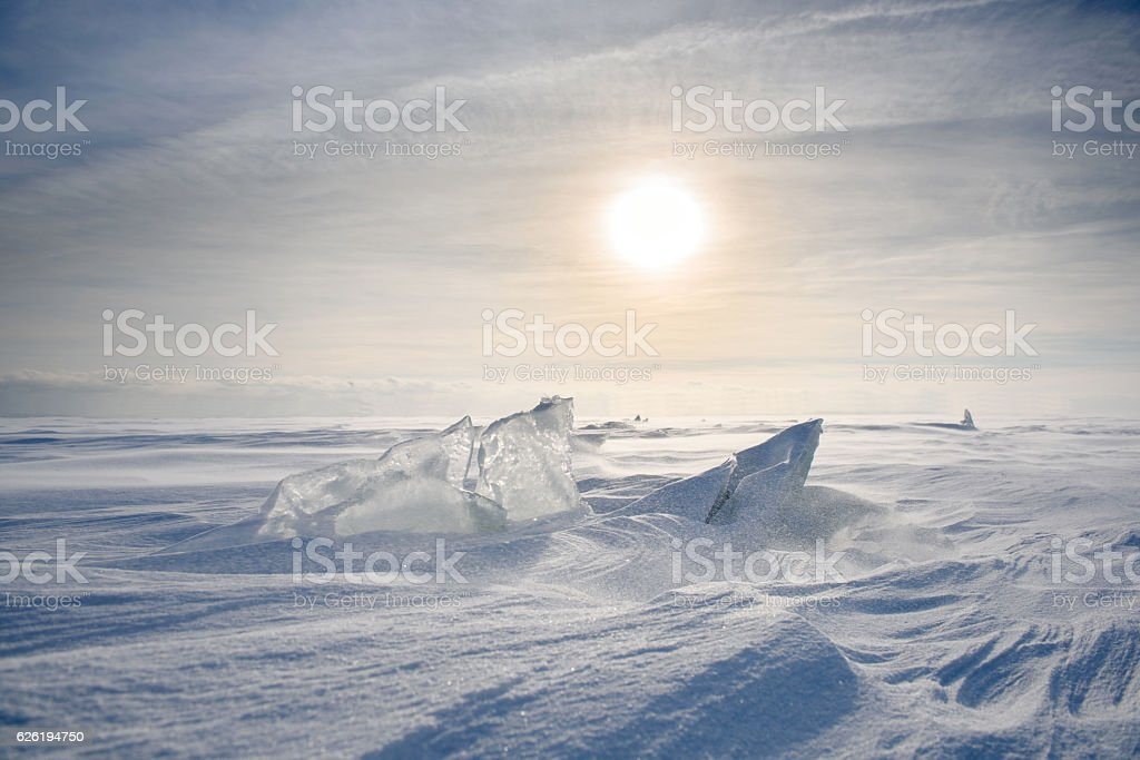 Boundless icy landscape during stock photo