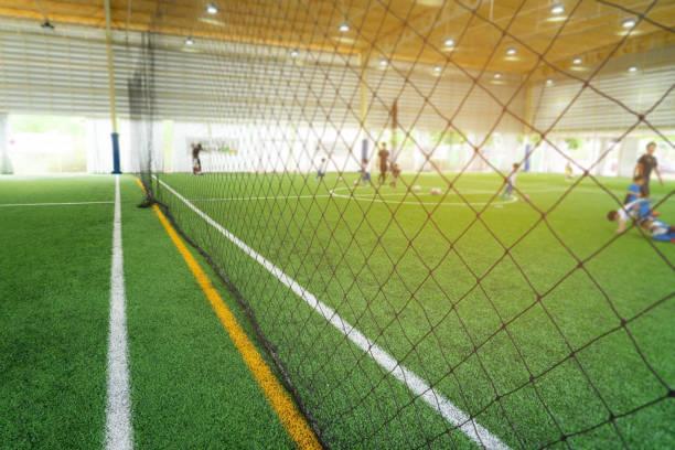 Línea de límite de un campo de entrenamiento de fútbol fútbol sala - foto de stock